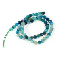 15 Natural Striped Agate Beads, Round, Blue, Size: about 6mm in diameter, hole: 1mm